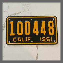 1951 California YOM Motorcycle License Plate For Sale - 100448