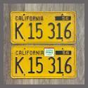 1956 California YOM License Plates For Sale - Original Vintage Pair K15316 Truck