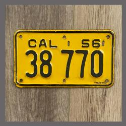 1956 California YOM Motorcycle License Plate For Sale - 38770