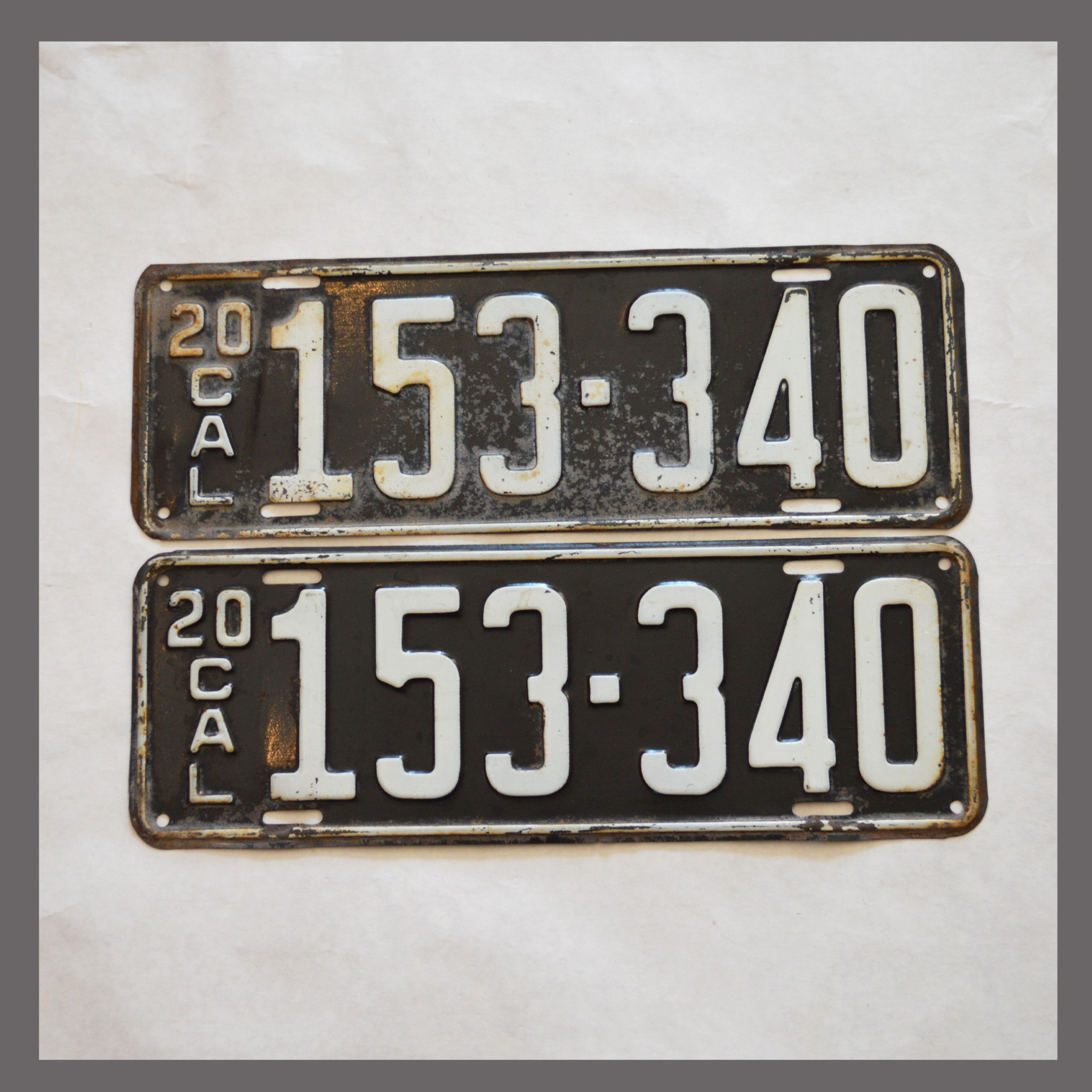 1920 California YOM License Plates For Sale - Original Vintage Pair ...