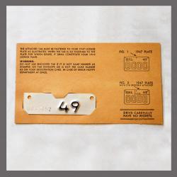 1949 Original California YOM DMV Motorcycle License Plate Metal Tag