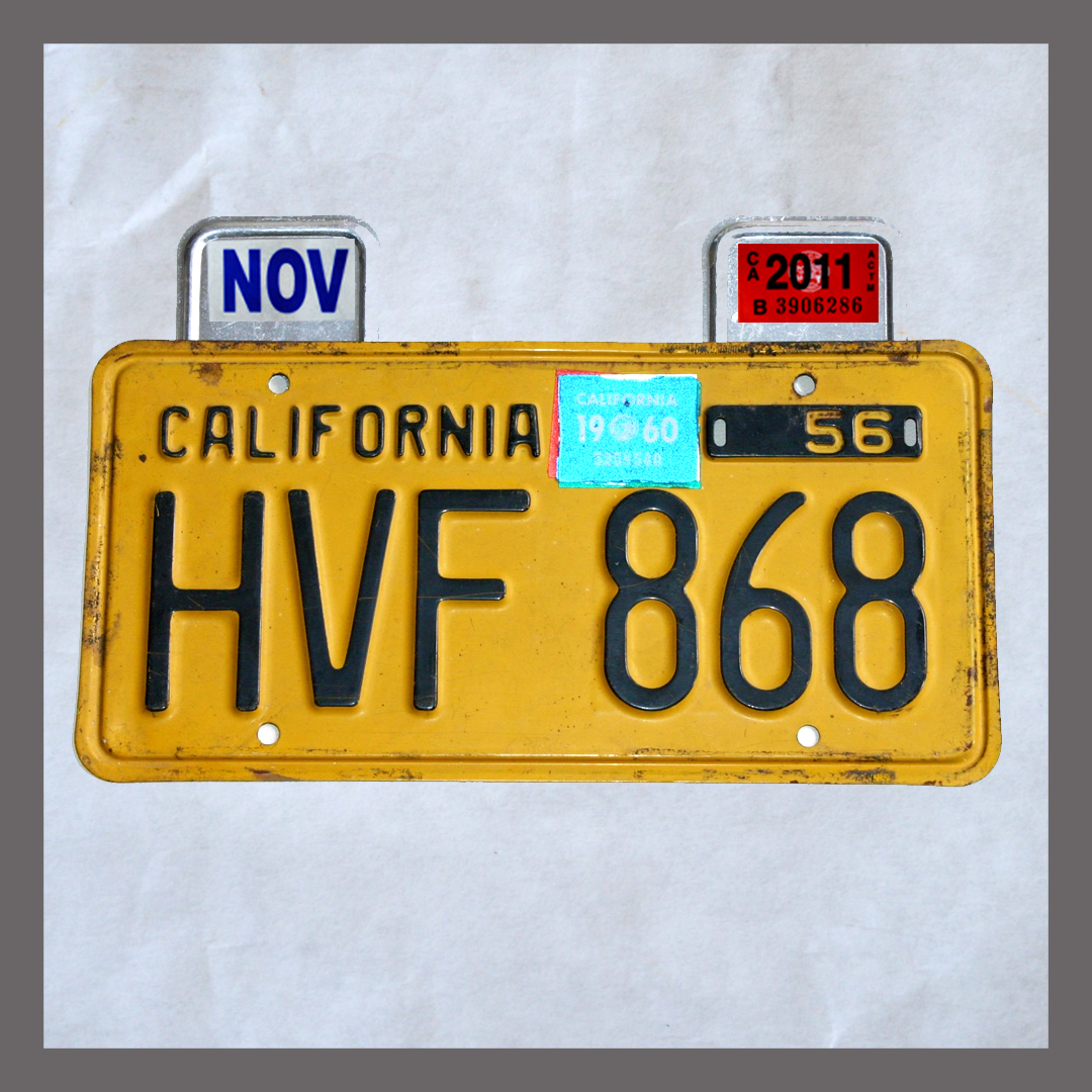 CA YOM License Plates Month & Year Tag / Sticker Holders Pair For Sale