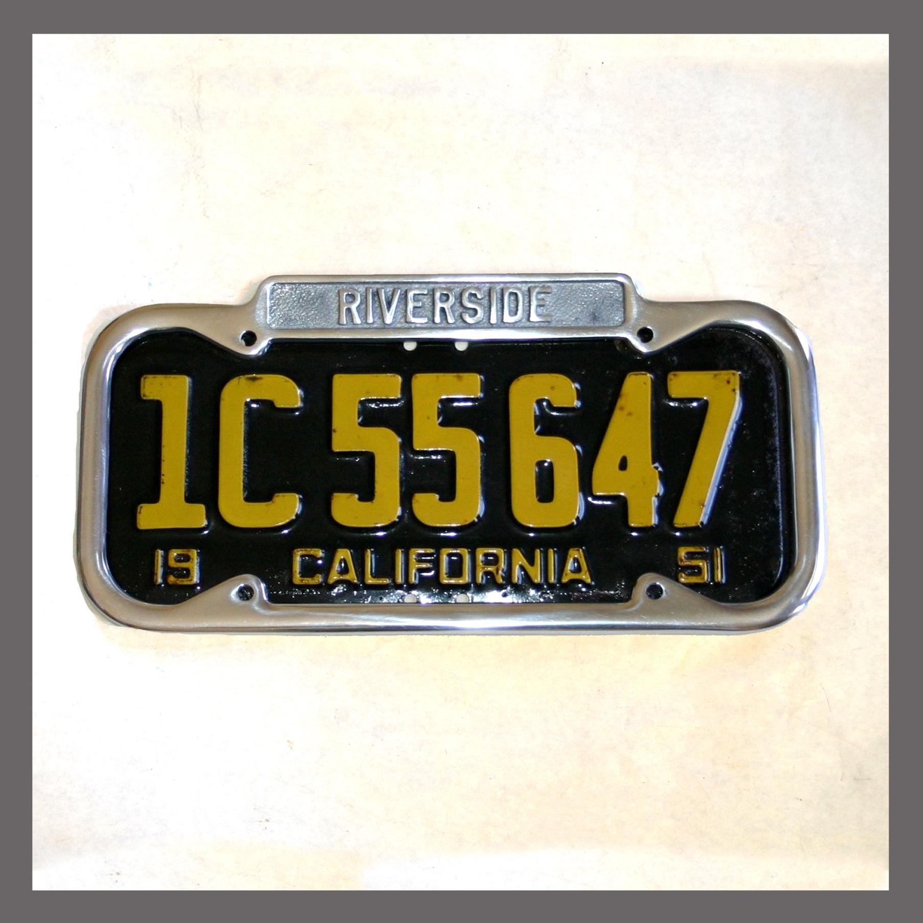 Riverside California Polished License Plate Frame For Sale