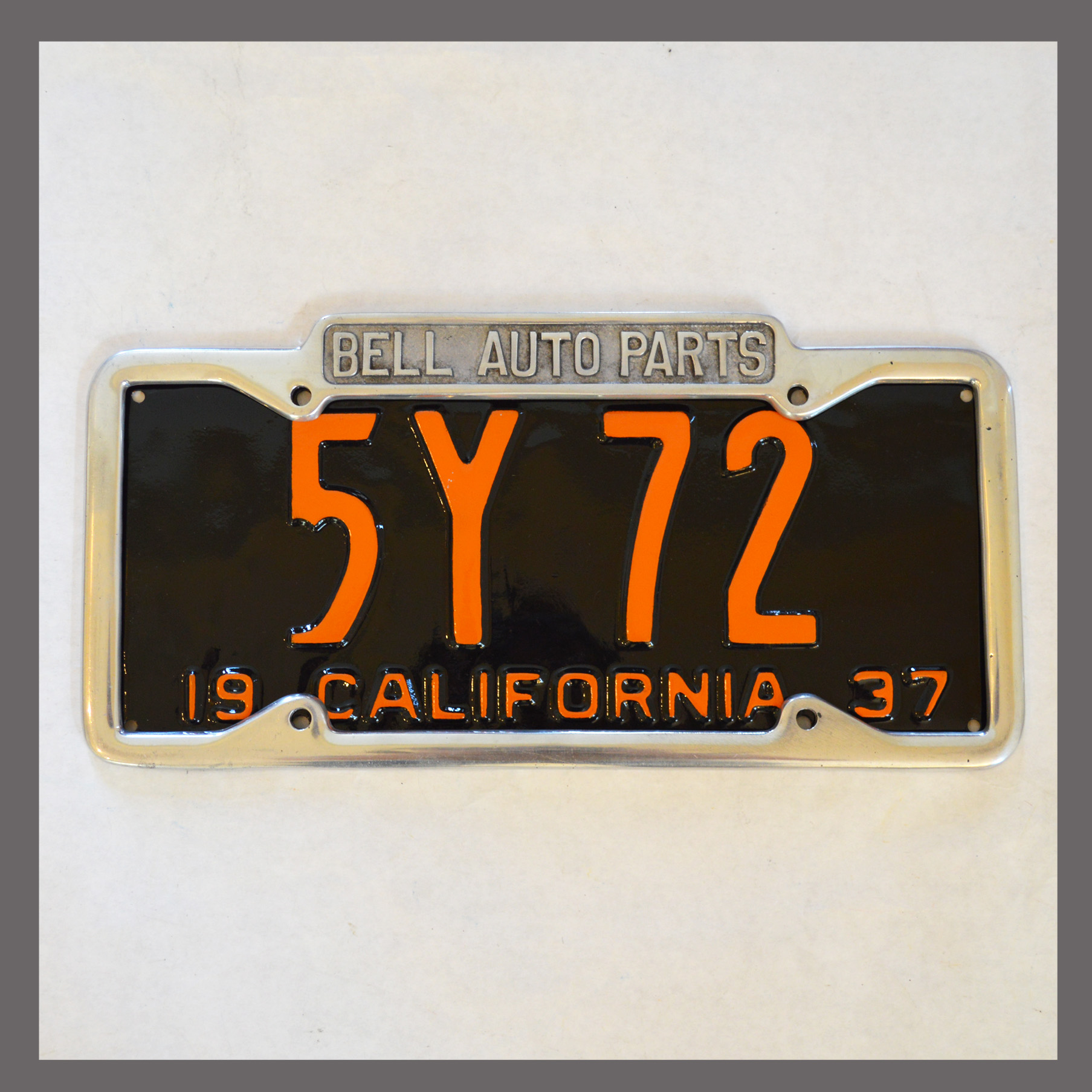Bell Auto Parts California Polished License Plate Frame For Sale