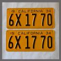 1934 California YOM License Plates For Sale - Restored Vintage Pair 6X1770