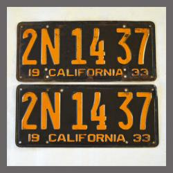 1933 California YOM License Plates Pair Original 2N1437