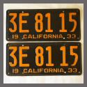 1933 California YOM License Plates Pair Original 3E8115