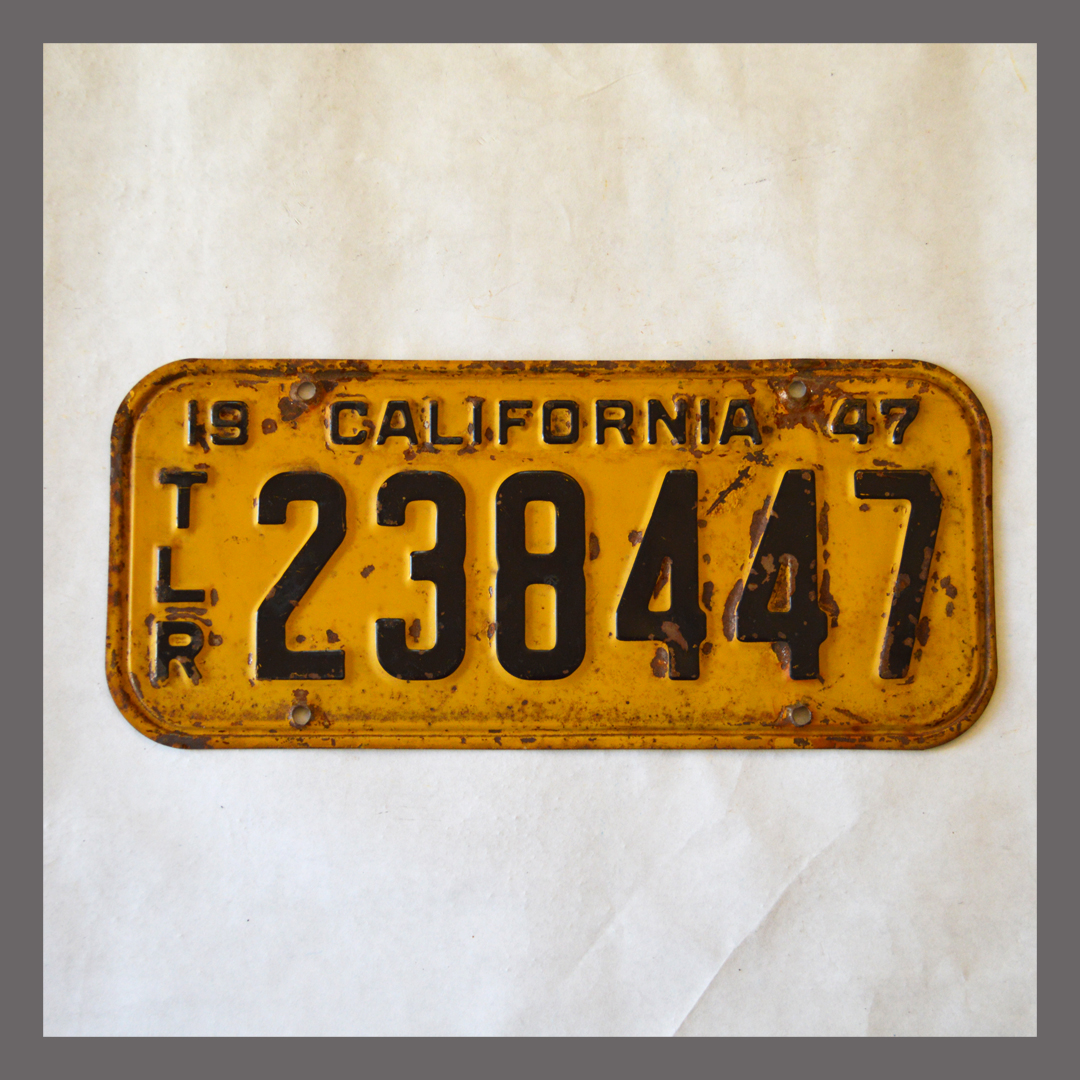 1947 California Trailer License Plate For Sale - Original Vintage 238447