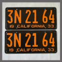 1933 California YOM License Plates For Sale - Restored Vintage Pair 3N2164
