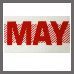 May CA Red DMV Month Sticker - License Plate Registration