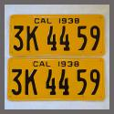 1938 California YOM License Plates For Sale - Restored Vintage Pair 3K4459