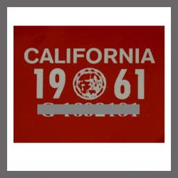 1961 CA YOM DMV Sticker - License Plate Registration