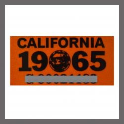 1965 CA YOM DMV Sticker - License Plate Registration