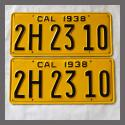 1938 California YOM License Plates For Sale - Restored Vintage Pair 2H2310