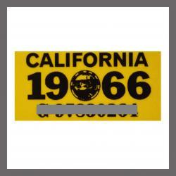 1966 CA YOM DMV Sticker - License Plate Registration