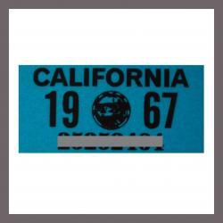 1967 CA YOM DMV Sticker - License Plate Registration