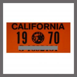 1970 California YOM License Plate DMV Sticker For Sale