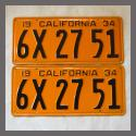 1934 California YOM License Plates For Sale - Restored Vintage Pair 6X2751