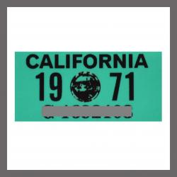 1971 California YOM License Plate DMV Sticker For Sale