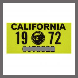 1972 California YOM License Plate DMV Sticker For Sale