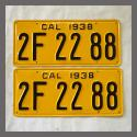 1938 California YOM License Plates For Sale - Restored Vintage Pair 2F2288