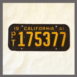 1941 California Trailer License Plate For Sale - Original Vintage 175377