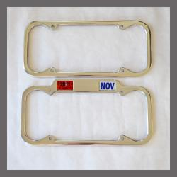 California YOM License Plate Frames Pair 1940 - 1955 for DMV Month Year Stickers