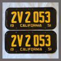 1951 California YOM License Plates For Sale - Restored Vintage Pair 2V2053