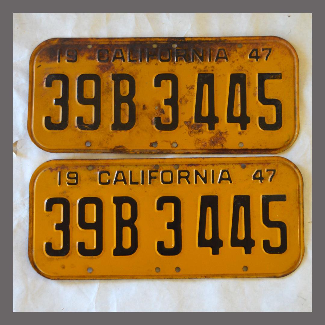 1947 California YOM License Plates For Sale - Original Vintage Pair ...