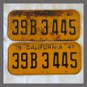 1947 California YOM License Plates Pair Original 39B3445