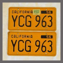 1956 California YOM License Plates For Sale - Original Vintage Pair YCG963