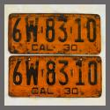 1930 California YOM License Plates For Sale - Original Pair 6W8310