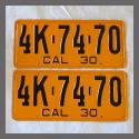 1930 California YOM License Plates For Sale - Restored Vintage Pair 4K7470